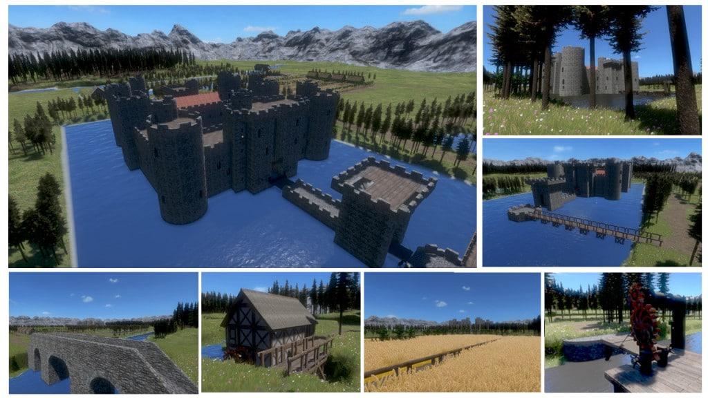 Le château de Bodiam recrée avec le jeu vidéo Medieval Engineers