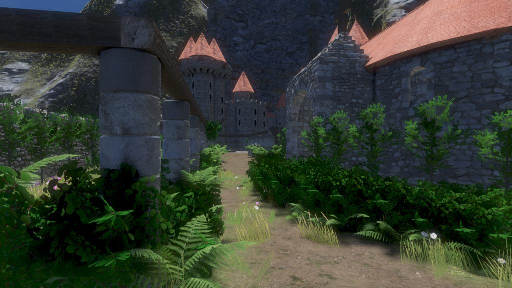 Un château du Moyen- âge crée avec le jeu vidéo Medieval Engineers