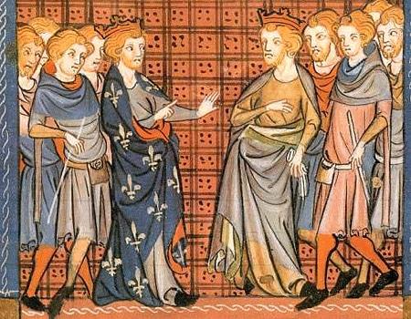 La querelle de Richard Coeur de Lion et Philippe Auguste, enluminure du XIVe siècle (bnF)