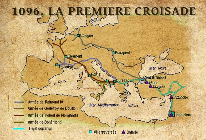 Première croisade : itinéraire des croisés