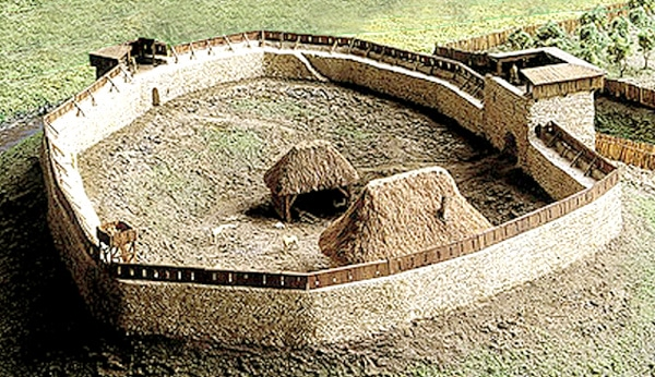 Maquette : reconstitution de l'enceinte castrale et du site fortifié de Plessis-Grimoult (Calvados), XIe siècle