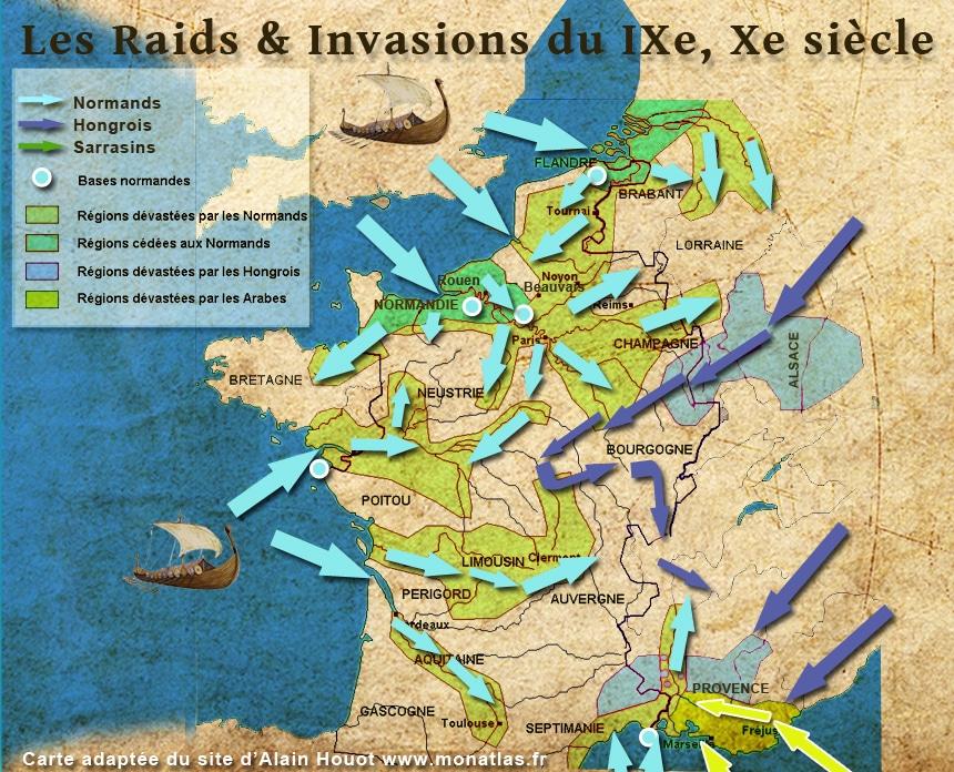 IXe, Xe siècle. La France en prise aux invasions. Carte retouchée. Voir original sur www.monatlas.fr