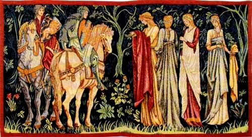 Le départ des chevaliers pour la quête du Saint Graal, tapisserie du XIXe siècle,Edward Burne-Jones,