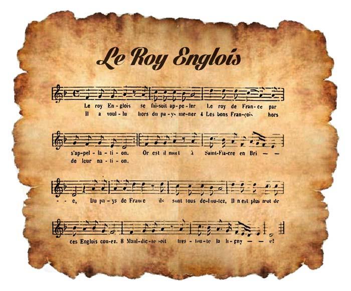 Roy angloys chanson Manuscrit de Bayeux musique d'un Recueil de  Théodore Gérold 1921
