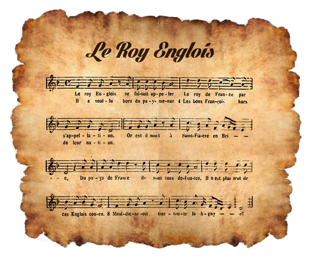 """Partition tirée de l'ouvrage """"Le Manuscrit de Bayeux, Texte et musique d'un Recueil de Chansons du XVe siècle"""", Théodore Gérold, 1921."""