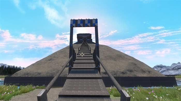 La rampe d'accès du château à motte donjon