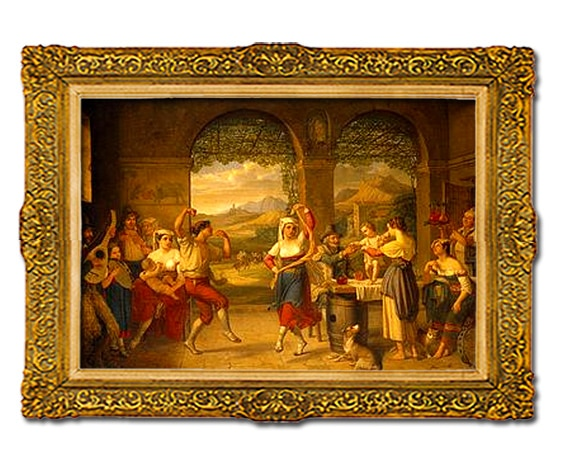 Dietrich Wilhelm Lindau, Saltarelle dans une taverne romaine, 1827