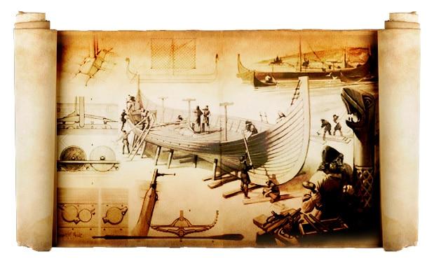 Construction d'un navire Viking, basée sur une illustration d'Angus McBride, XXe