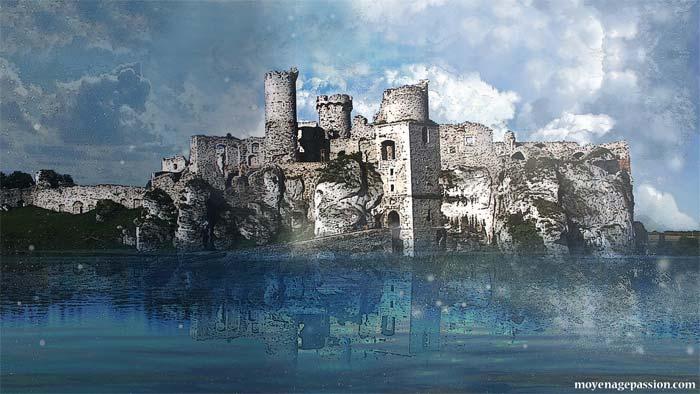 Art digital inspiré des ruines du château d'Ogrodzieniec, Pologne