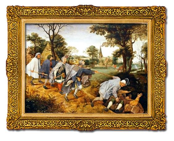Pieter Bruegel, l'aveugle guidant l'aveugle, peinture Satirique du XVIe, Musée de Capodimonte, Naples