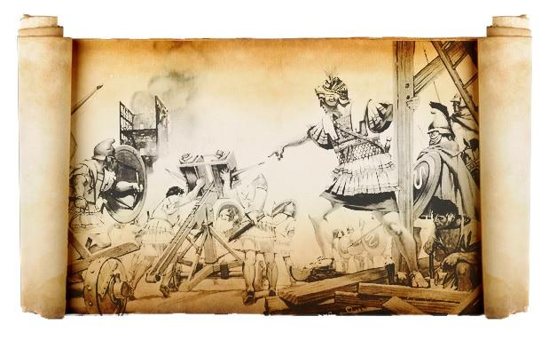 Techniques d'assaut et de siège romaines, Illustration d'origine, Angus MacBride, XXe