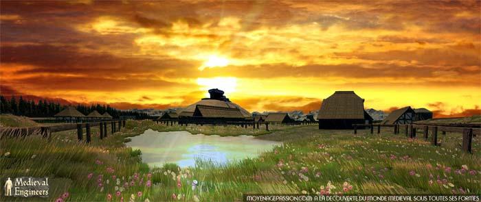 Panoramic HD motte castrale et châteaux à motte