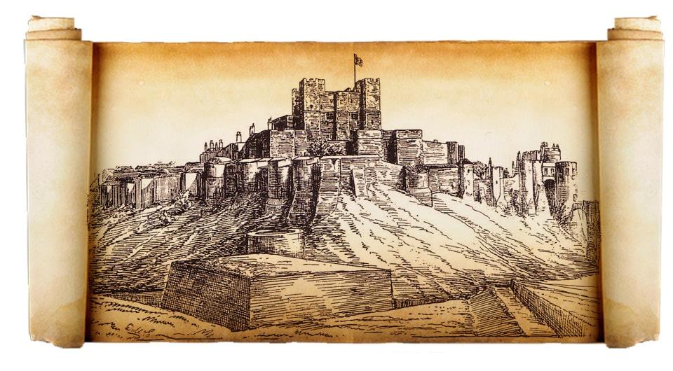 Château fort de Douvres, XIe siècle et suivant. Guillaume de Normandie, illustration du XIXe siècle. L
