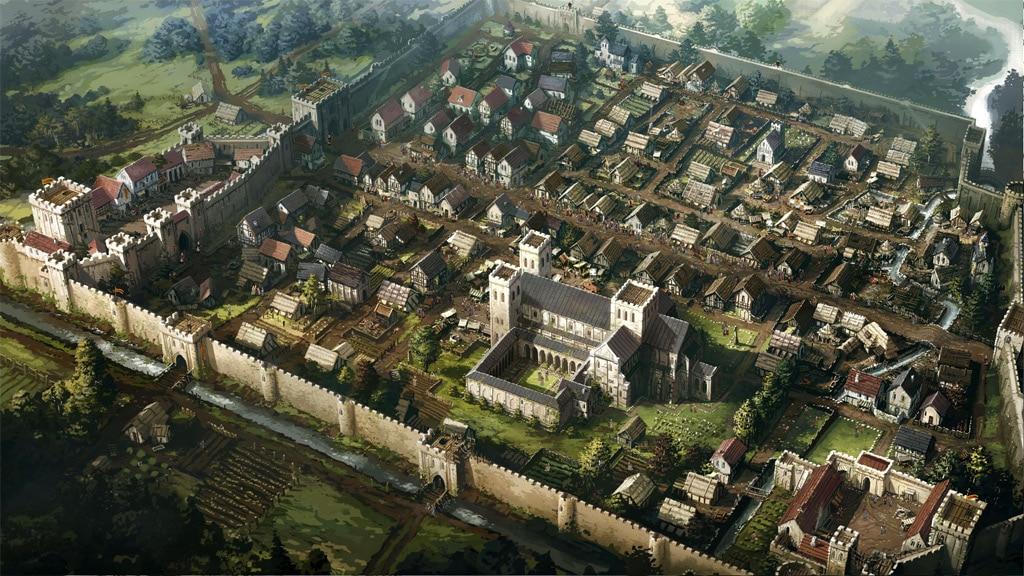 Les piliers de la terre, le jeu vidéo et la ville fictive de Kingsbridge réconstituée par Daedalic entertainement