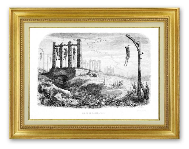 Le gibet de Montfaucon, Gravure de Charles d'Aubigny, 1844, ouvrage :Notre Dame de Paris