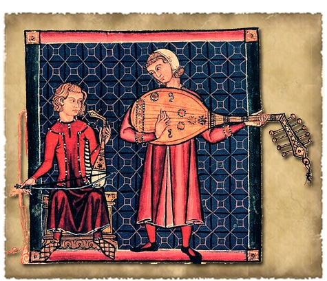 """Manuscrit """"Cantiga de Santa Maria"""", d'Alphonse X de Castille, on y voit notamment un Rabel"""