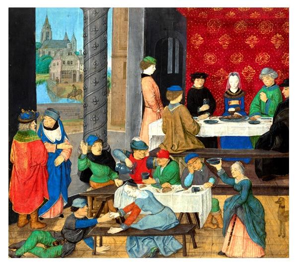 """Illustration d'une taverne, enluminure du manuscrit """"Valerius maximus, Des faits et dits mémorables"""" 1470"""