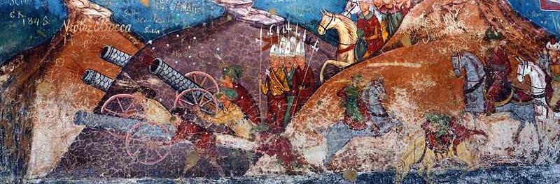 Détail de la Bataille de Constantinople, 1453, monastère de Moldovita, Moldavie, XVIe, Fresque de Toma de Suceava