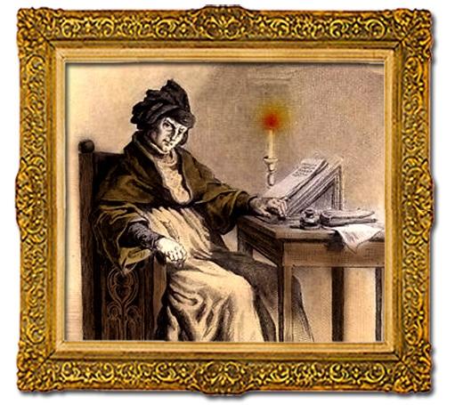 Jean Froissart, gravure du XIXe siècle,colorisée moyenagepassion;com
