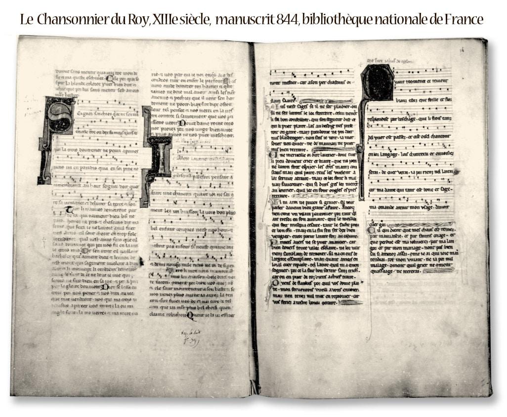 Le chansonnier du roy, héritage du XIIIe siècle musical, manuscrit 844, bnF