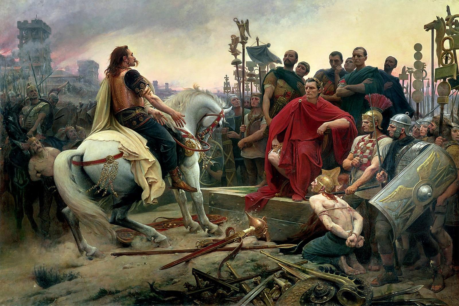 Vercingétorix rendant les armes devant César, Par Lionel Royer, fin XIXe musée de Versailles