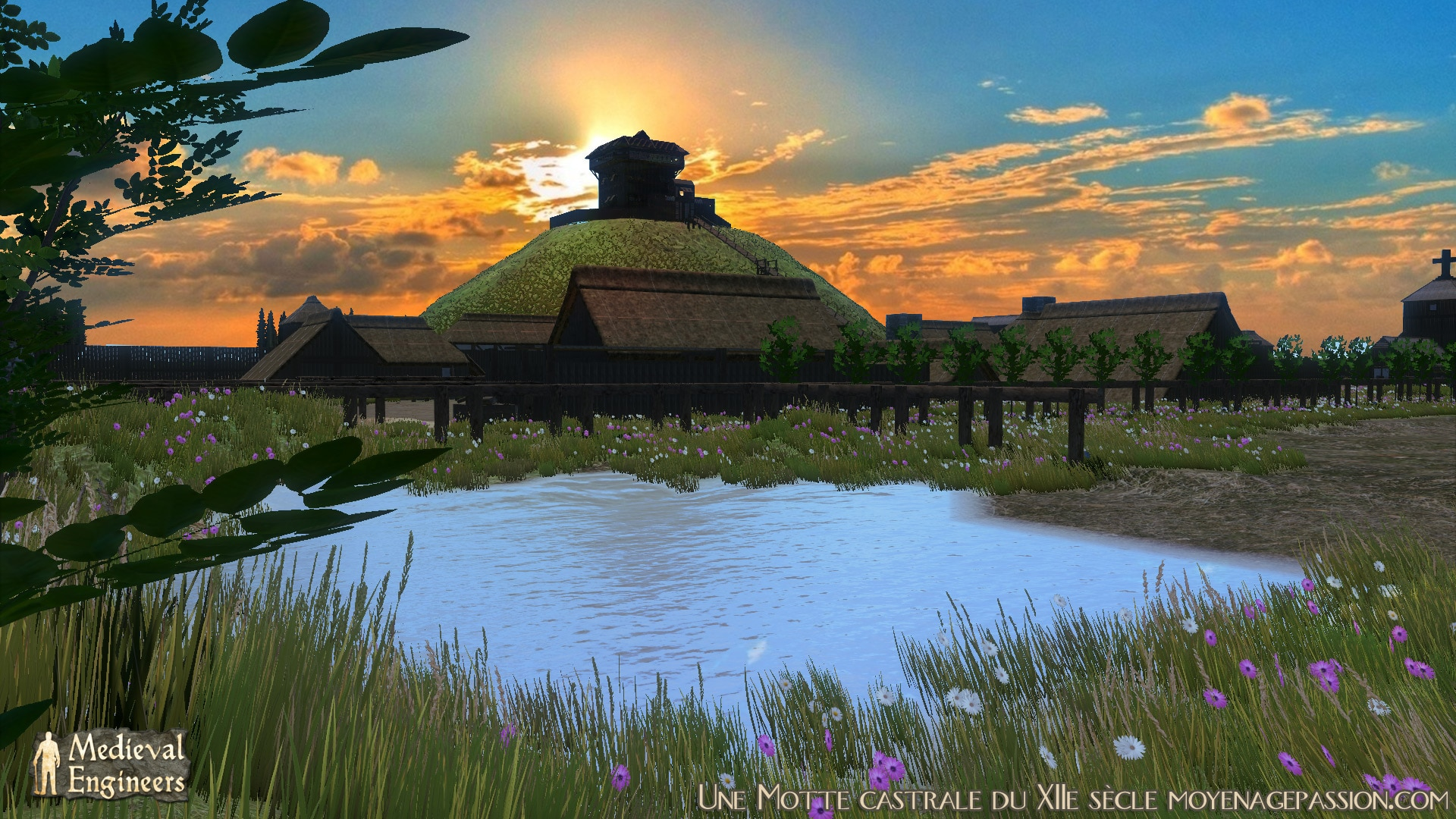 Coucher de soleil buccolique sur la motte castrale et sa tour maîtresse