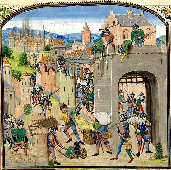 Guerre médiévale et pillage : le pïllage de la ville de Grammont, fin XIVe, chroniques de Jean Froissart, BnF Manuscrits 2644