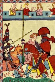 Les tournois de chevaliers au XIII, XIVe siècle (codex Manesse, Allemagne)