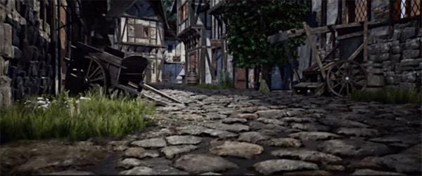Gestion superbe des effets atmosphériques et climatique, et des lumières pour cette petite rue médiévale 3D réconsti