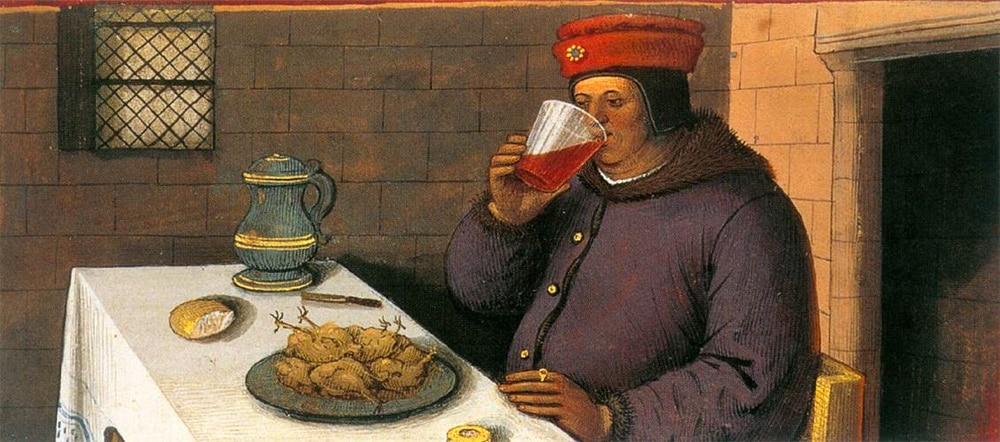 Le vin, de l'église aux tavernes, enluminure tirée du Missel de Jacques de Beaune, Jean Bourdichon, début XVie siècle