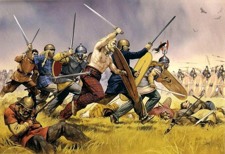 Charge celte, Angus Mc bride, illustrations historiques, XXe siècle