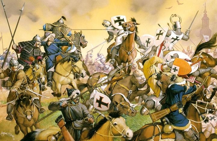 1241 Bataille de Legnica ou Liegnitz. Les envahisseurs mongoles mettent en déroute les chevaliers chrétiens.
