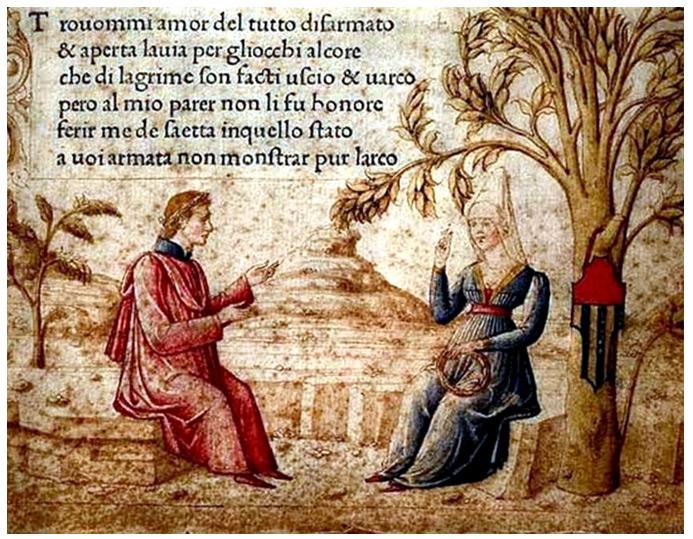 Laure, l'amour, femme faite poésie, auquel que Petrarque renoncera pour sa foi et son ascèse, Miniature du Canzionere, XVe, bibliothèque de Venise