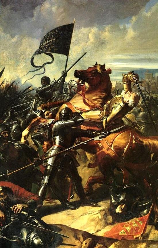 Bataille de Castillon, mort de Talbot sur le champ de bataille, par Larivière Charles Philippe, XIXe siècle.
