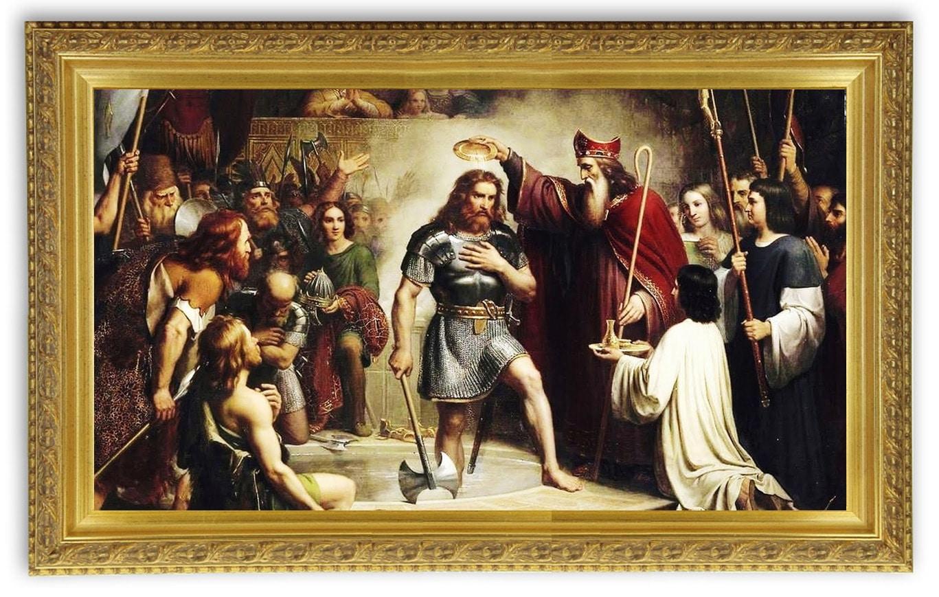 496, le légendaire baptême de Clovis, tournant de l'histoire médiévale, peinture de François-Louis Dejuinne, XIXe siècle (1837), Musée de Versailles