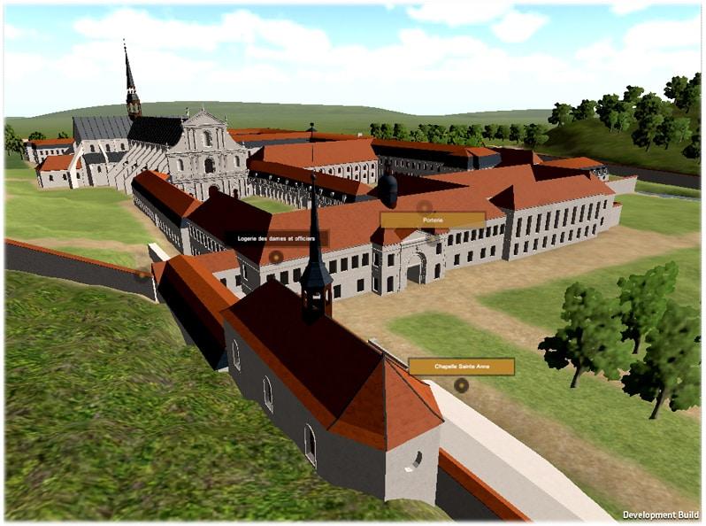 La maquette interactive 3D de l'abbaye de Clairvaux avec le Plug in Unity