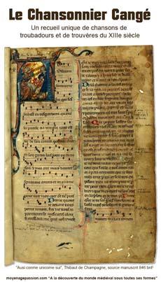Chansonnier Cangé Manuscrit médiéval