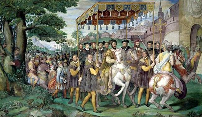 1540 le roi François Ier, l'empereur Charles Quint et le cardinal Farnèse à Paris , par Taddeo Zuccaro,1566