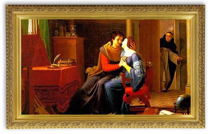 "Jean Vignaud, ""Abélard et Héloïse surpris par Fulbert (1819), Joslyn Art Museum, Nebraska. USA"