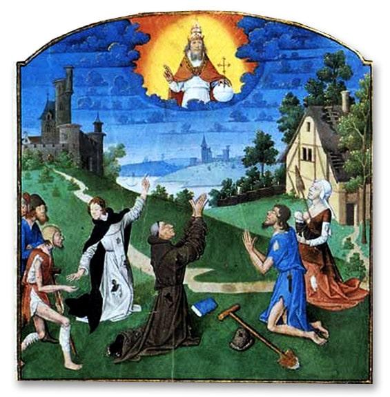 """""""pauvreté et patience"""" manuscrit traité théologique, manuel de XIVe, bnF,"""