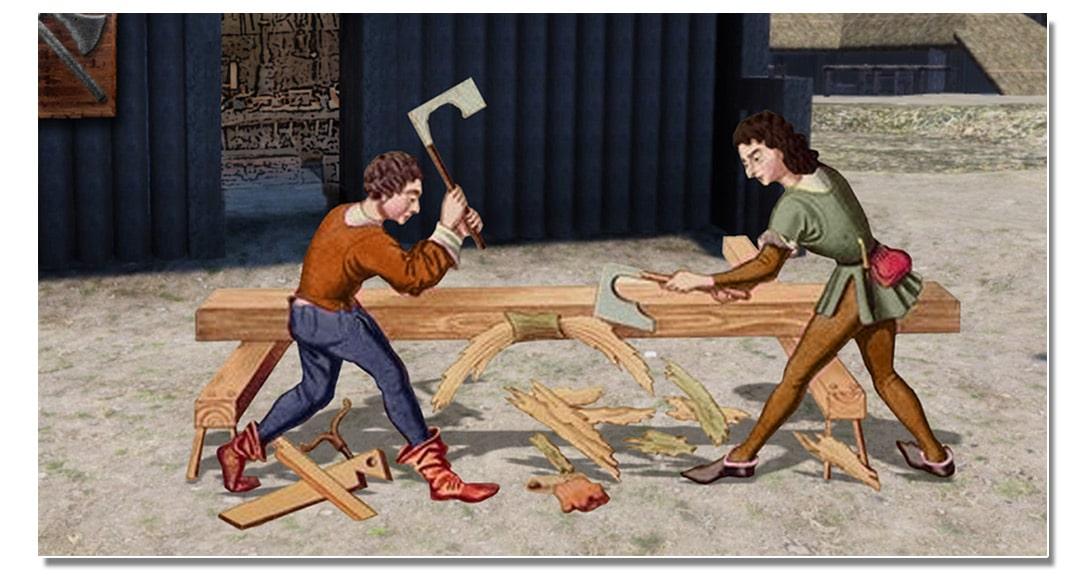 video_mottes_castrales_artisanat_charpentier_medieval_vie_moyen-age