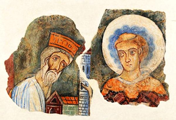Offrande d'un roi à un saint, fragmant d'une fresque religieuse du VIIe siècle, musée de Cluny