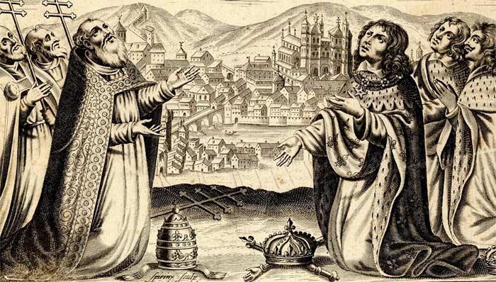 Philippe le Bel et le Pape Clément V au concile de Vienne où se décidera le sort des templiers, gravure du IXe siècle