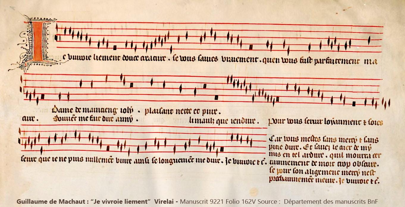musique_chansons_virelai_medieval_guillaume_de_machaut_je_vivroie_liement_amour_courtois_manuscrit_ancien