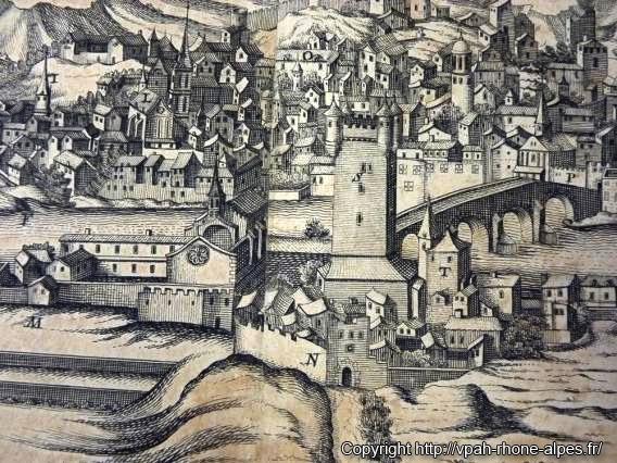 Vienne vue depuis les remparts de Sainte Colombe, Gravure du XVIIe siècle, Musée de Vienne