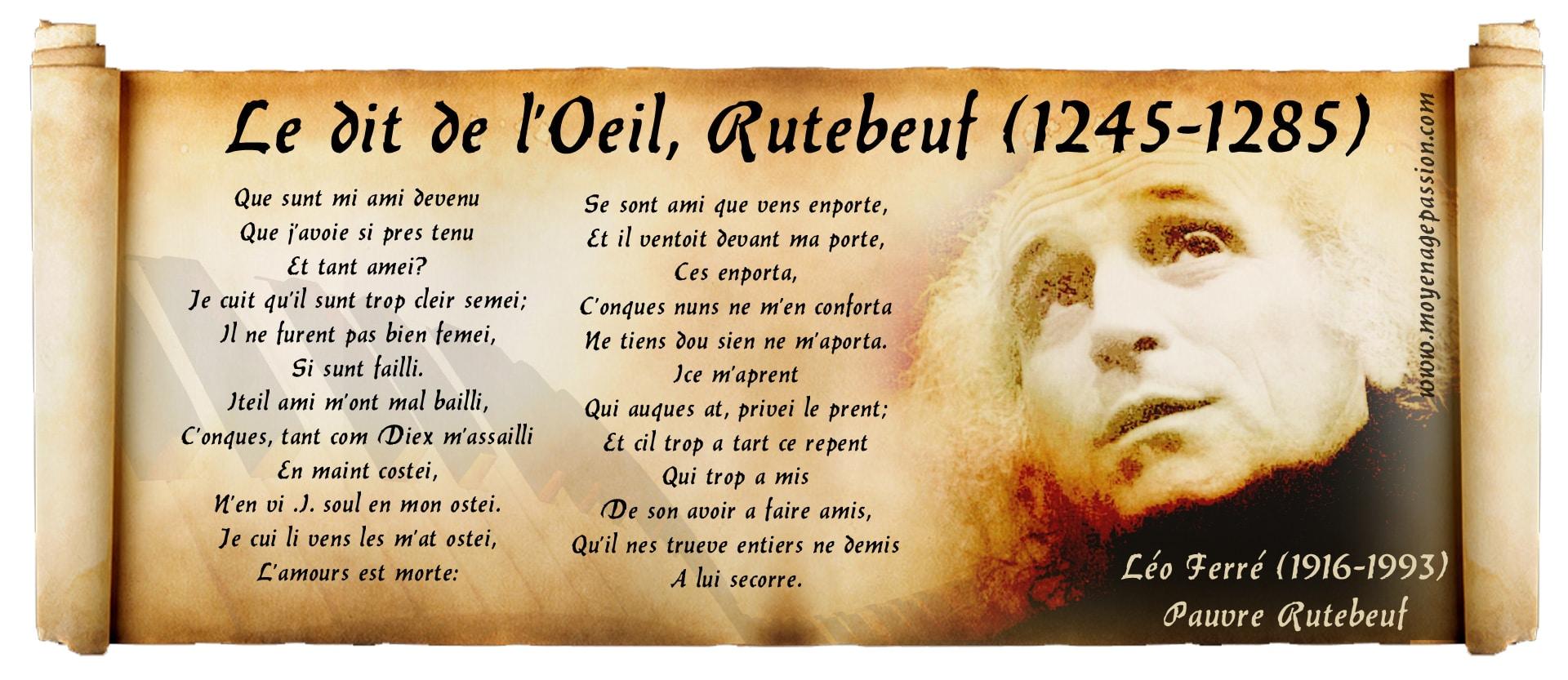 poesie_realiste_medievale_trouvere_rutebeuf_leo_ferre_le_dit_de_l_oeil_moyen-age