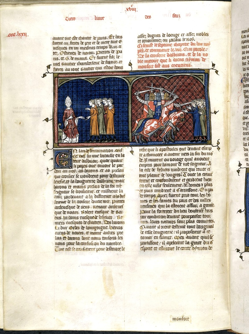croisade_cathare_albigeois_languedoc_simon_montfort_innocent_III_inquisition_chateau_montsegur_monde_feodal_medieval_miniature