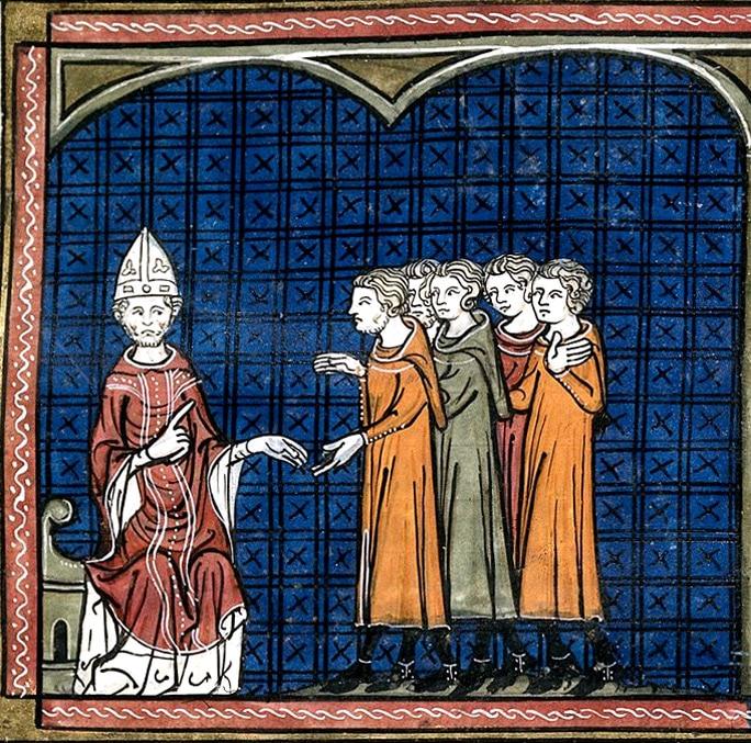 Innocent III, excommuniant des Albigeois. (manuscrit cité plus haut)