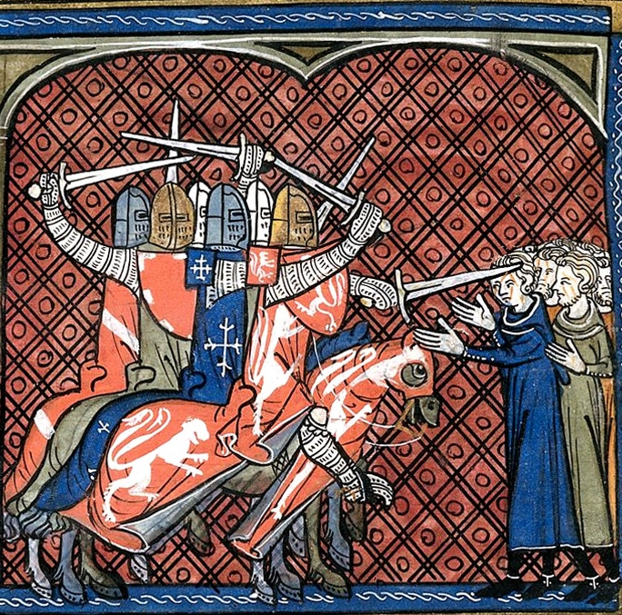 Les croisés avec à leur tête Simon de Montfort (manuscrit cité plus haut)