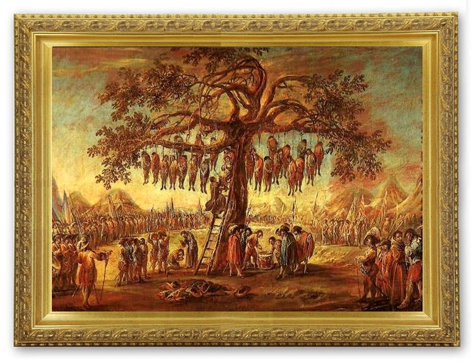 L'arbre aux pendus de Jacques Callot (1592-1635), gravure eau-forte extraite de la série les Misères et malheurs de la guerre.